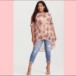 Torrid Pink Floral High Low Blouse Size 2X